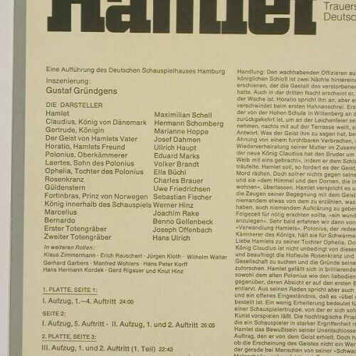 Hamlet - William Shakespeare: Maximilian Shell,M.Hoppe...,Foc, Heliodor(2760 103), D,  - 3LP - A9410 - 10,00 Euro