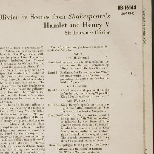 "Olivier""Sir Laurence"": In Scenes from Shakespeare's, RCA(RB-16144), UK,vg+vg+,  - LP - C1900 - 7,50 Euro"