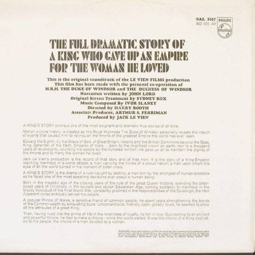 King's Story, A: Original Sound Track, Philips(Sal 3507), UK, 65 - LP - C3393 - 12,50 Euro