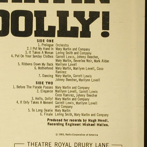 Hello Dolly: Original London Cast Recording, RCA(LSOD-2007), US + Sheet, 65 - LP - C5485 - 9,00 Euro