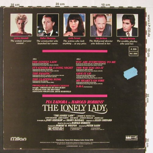 The Lonely Lady: Pia Zadora in Harold Robbins, Milan(A 226), I, 1983 - LP - C8900 - 6,00 Euro