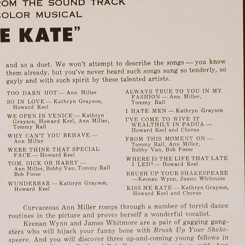 Kiss Me Kate: Original Soundtr.,Ri, m-/vg+, CBS(70278), NL, 1953 - LP - E1471 - 5,00 Euro