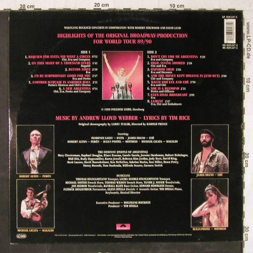 Evita: Highlights Of The Org.Broaway Prod., Polydor(839 247-1), D, 1989 - LP - E6025 - 5,00 Euro