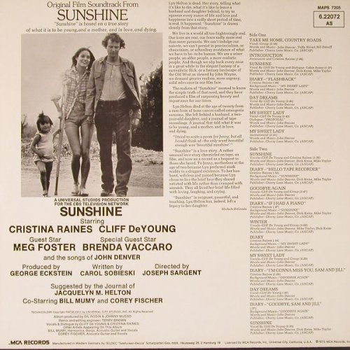 Sunshine: Original Film Soundtrack, MCA(6.22072 AS), D, 1973 - LP - E8352 - 6,00 Euro