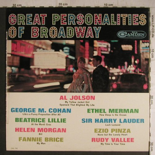 V.A.Great Personalities of Broadway: George M.Cohan...Al Johnson, RCA Camden(CAL-745), US, toc, 1963 - LP - F7167 - 7,50 Euro