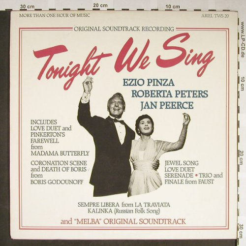 Tonight We Sing: Ezio Pinza,Roberta Peters,JanPeerce, Ariel(TWS 20), CDN, stoc,  - LP - H2138 - 9,00 Euro