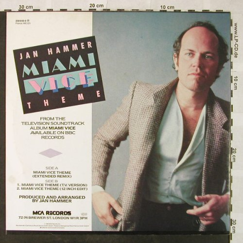 Hammer,Jan: Miami Vice Theme*3, MCA(258 842-0), D, 1985 - 12inch - H5231 - 4,00 Euro