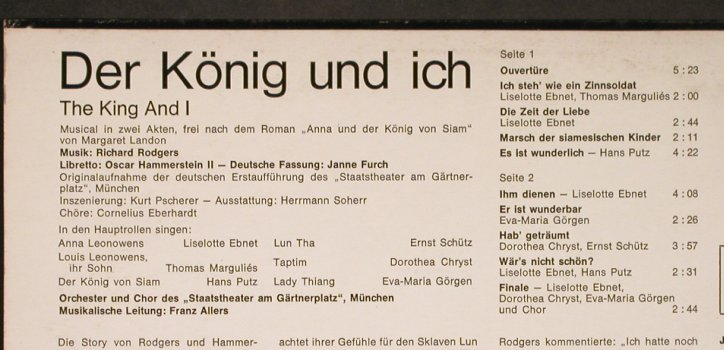 Der König und ich/The King and I: Musical in 2 Akten, Club Ed., Philips(60 689 P.9), D, 1967 - 10inch - H6167 - 5,00 Euro