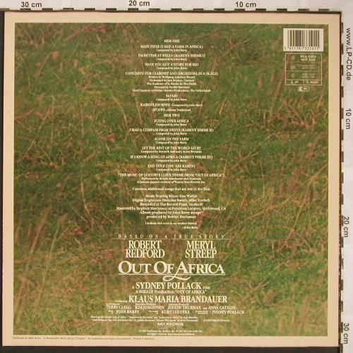 Out Of Africa: Soundtrack by John Barry, MCA(03310), D, 1985 - LP - X1638 - 4,00 Euro