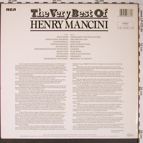 Mancini,Henry: The Very Best Of, like new, RCA(PL89337), UK, 1981 - LP - X6477 - 9,00 Euro
