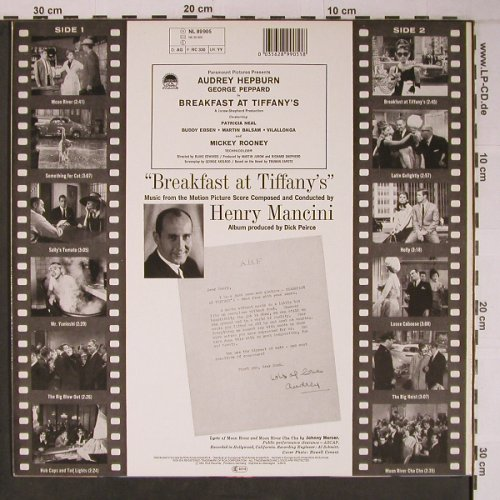 Breakfast At Tiffany's: Henry Mancini cond.by,Score(1961), RCA(NL 89905), D,Ri, 1986 - LP - X6581 - 9,00 Euro