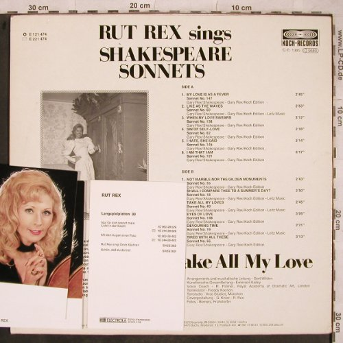 Rex,Rut: Take all my Love-ShakespeareSonnets, Koch+ 3 Autogr.Karten(E 121 747), D, 1985 - LP - X747 - 7,50 Euro