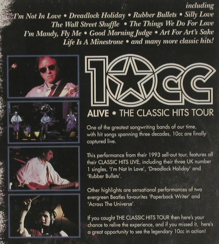 10CC: Alive-The Classic Hits Tour,NoBookl, Wienerworld(WINRD 2104), , 2001 - DVD-V - 20034 - 5,00 Euro