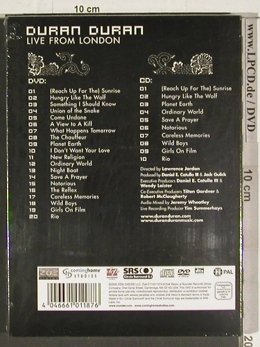 Duran Duran: Live from London,DeluxeEd., FS-New, CHS(10032), +Audio, 05 - 2DVD-V - 20094 - 10,00 Euro