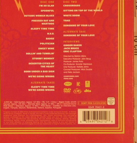 Cream: Royal Albert Hall, Warner(), , 2005 - 2DVD-V - 20124 - 12,50 Euro