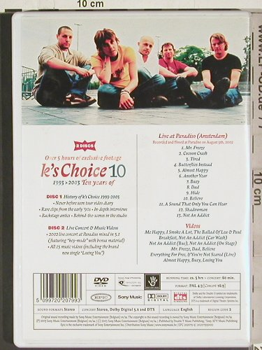 K's Choice: 10 - 1993-2003 - Ten years of, Sony/dts(EPC 202079-9), engl.Reg2, 2003 - 2DVD-V - 20215 - 15,00 Euro