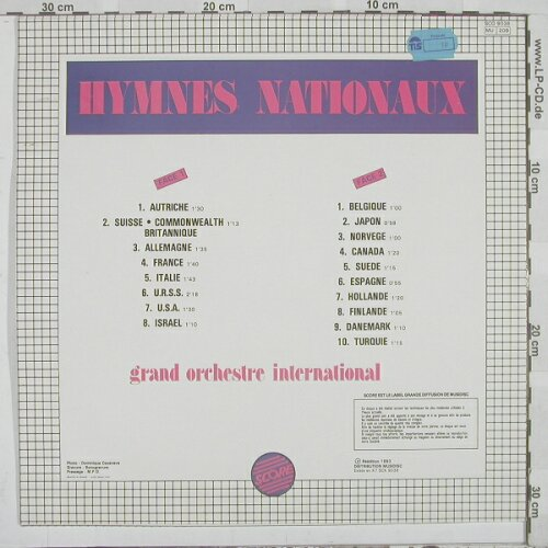 Grand Orchestre International: Hymnes Nationaux, Score(SCO 9038), F, 86 - LP - A655 - 4,00 Euro