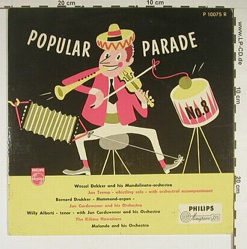 V.A.Popular Parade No.8: 14 Tr., vg+/m-, Philips(P 10075 R), NL,  - 10inch - A8972 - 5,00 Euro