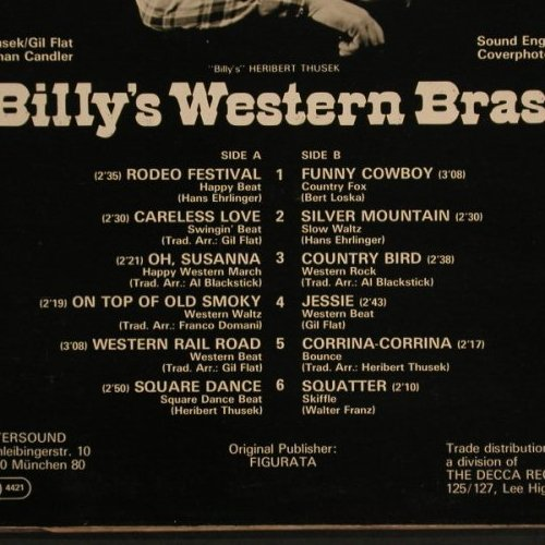 Billy's Western Brass: Western Railroad, Intersound(ISST 104), D,  - LP - C7955 - 5,00 Euro