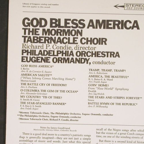 Mormon Tabernacle Choir: God Bless America, Columb.(MS 6721), US,  - LP - C9113 - 5,00 Euro
