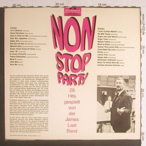 Last Band,James: Non Stop Party,28 Hits,Club Sondera, Polydor(H 837), D, 1967 - LP - F5846 - 7,50 Euro