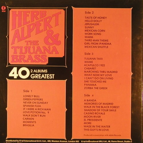 Alpert,Herb & Tijuana Brass: 40 Greatest, Foc, K-tel(NE 1005), UK, 1977 - 2LP - F6688 - 9,00 Euro