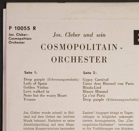 Cleber,Jos: pres. his Cosmopolitain Orchestra, Philips(P 10055 R), NL,vg+/vg+,  - 10inch - H134 - 7,50 Euro