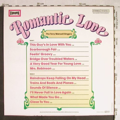 Mansell Singers,Tony: Romantic Love, Europa(111 573.1), D, 1982 - LP - H1391 - 4,00 Euro