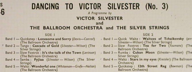 Silvester,Victor: Dancing to - Number Three, vg+/m-, Columbia(33S 1046), UK,  - 10inch - H190 - 6,00 Euro