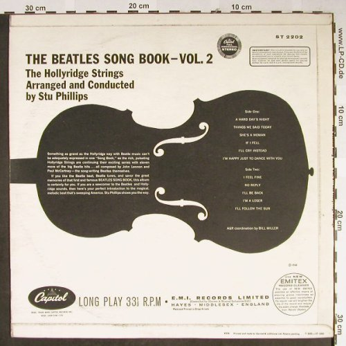 Hollyridge Strings: The Beatles Songbook, Vol.2, Capitol(ST 2202), UK, 1965 - LP - H2237 - 12,50 Euro