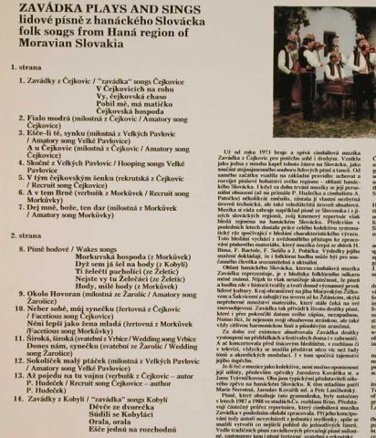 Zavadka: plays and sing, Supraphon(11 0777-1), CZ, 1989 - LP - H3321 - 5,50 Euro