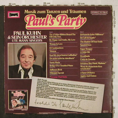 Kuhn,Paul: Paul's Party, Autogramm, Europa(111 756.4), D, 1981 - LP - H3495 - 9,00 Euro