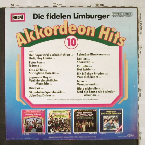 Fidelen Limburger: Akkordeon Hits 10, Europa(111 162.0), D, 1982 - LP - H3880 - 4,00 Euro