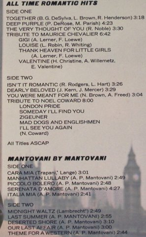 Mantovani and his Orchestra: All Time Romantic Hits, London(2BP 910/11), US, 1975 - 2LP - H896 - 7,50 Euro