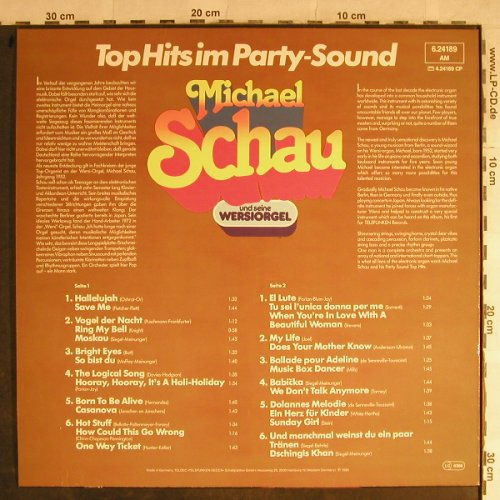 Schau,Michael: Top Hits Im Party-Sound, Telefunken(6.24189 AM), D, 1980 - LP - H9001 - 6,00 Euro