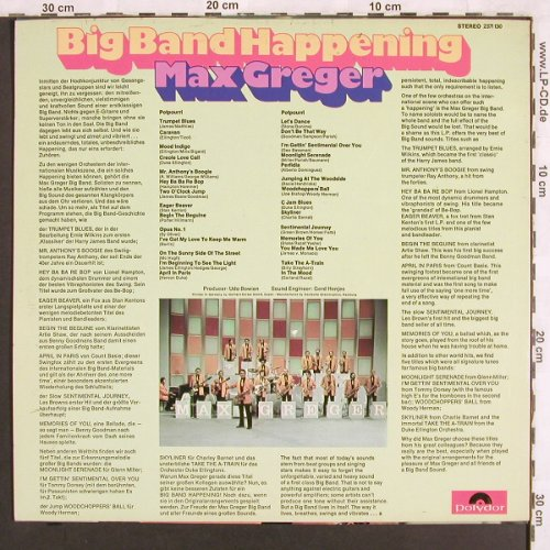 Greger,Max: Big Band Happening, Polydor(2371 130), D, 1971 - LP - X3170 - 7,50 Euro