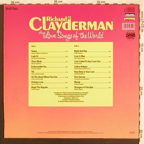 Clayderman,Richard: plays Love Songs of the World, Teldec Delphine(6.26529 AS), D, 1987 - LP - X3874 - 6,00 Euro