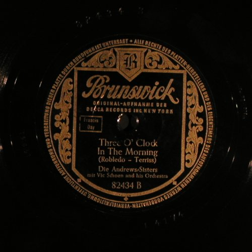 Andrews Sisters: Lullaby of Broadway, Brunswick(82 434), D, 1951 - 25cm - N384 - 10,00 Euro