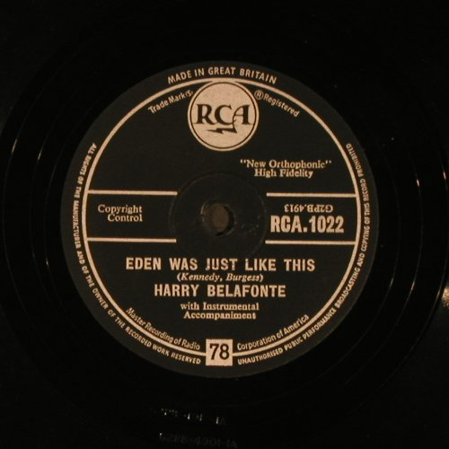 Belafonte,Harry: Mary's Boy Child / Eden was just.., RCA(RCA.1022), UK, VG+,  - 25cm - N245 - 5,00 Euro
