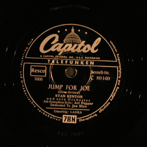Anthony,Ray  and his Orch.: Laura / Jump for Joe, Capitol(C 80 160), D, VG+,  - 25cm - N249 - 6,00 Euro