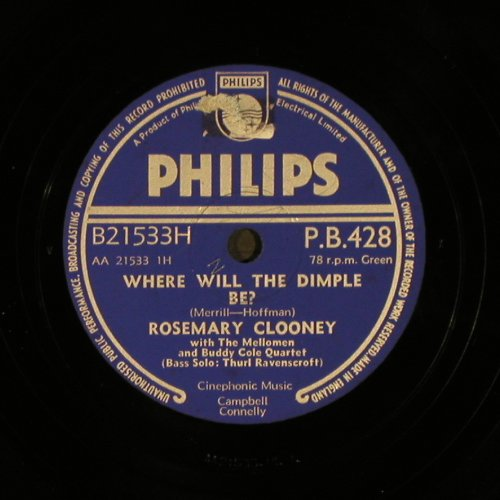 Clooney,Rosemary: Where Will The Dimple Be?, Philips(P.B.428), UK,  - 25cm - N260 - 7,50 Euro