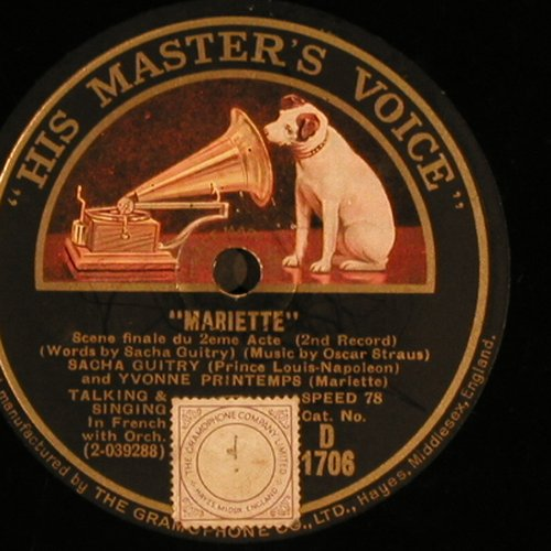 Strauss,Oscar: Mariette, in french, VG+, His Masters Voice(D 1706), UK,  - 30cm - N274 - 6,00 Euro