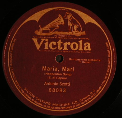 Scotti,Antonio: Maria, Mari, in ital. One sided, Victrola(88083), ,  - 30cm - N361 - 10,00 Euro